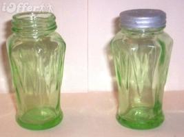 DEPRESSION GLASS-- HAZEL ATLAS GREEN ICICLE SALT AND PEPPER SHAKER SET - $27.45