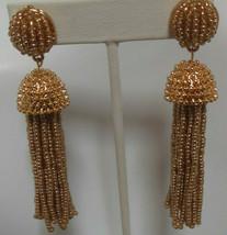 Signed BaubleBar Long Gold-tone Beaded Tassel Earrings - $31.68