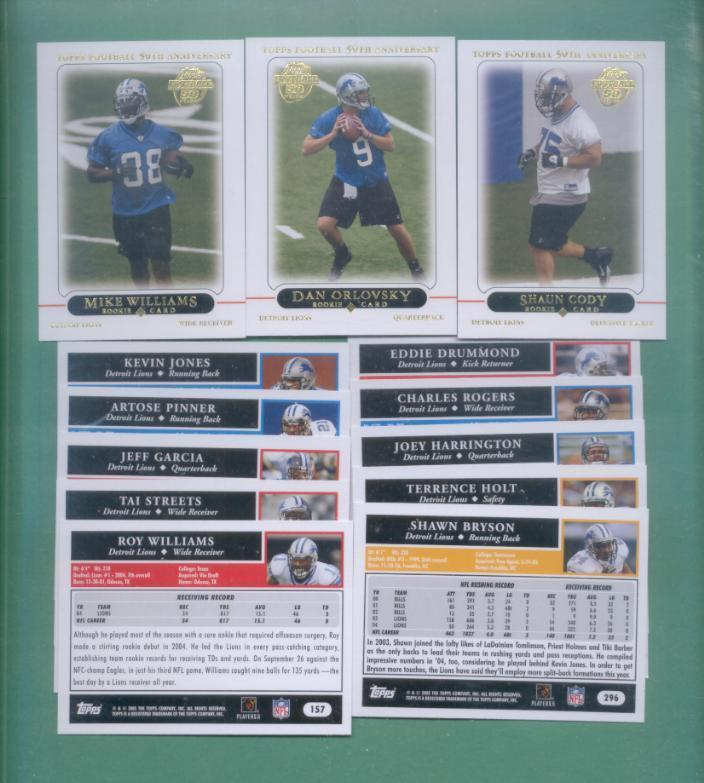 2005 Topps Detroit Lions Football Team Set