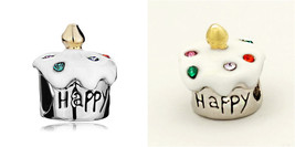 White Vanilla CZ Sprinkles Happy birthday cupcake charm bead F/European ... - $19.99