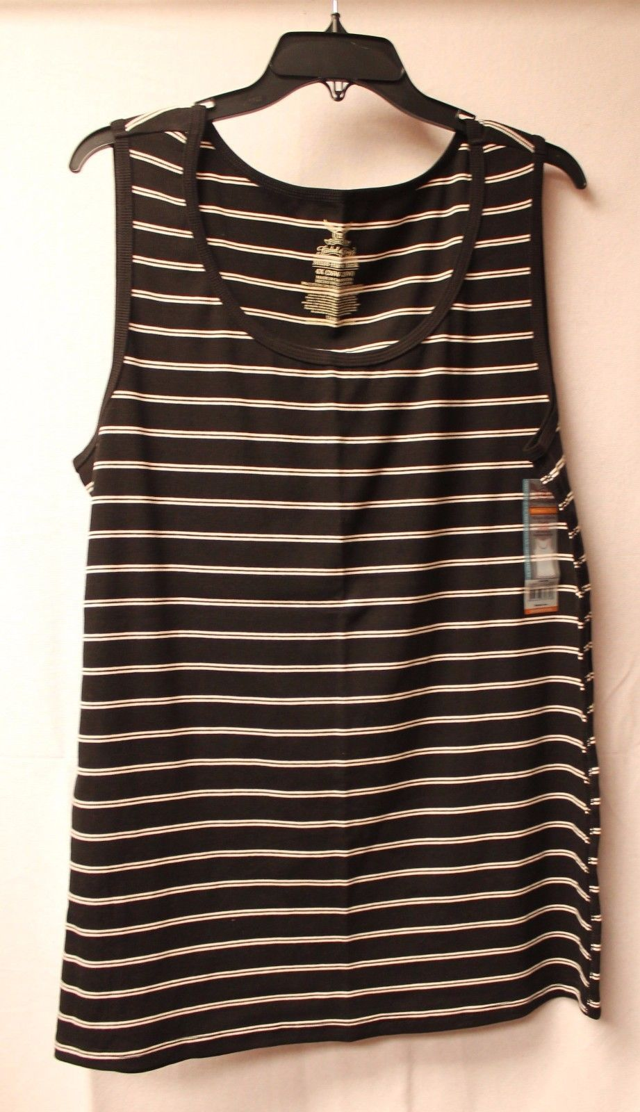 48cb7482aa260 S l1600. S l1600. Previous. NEW FADED GLORY WOMENS PLUS SIZE 4X 28W BLACK   WHITE  STRIPED RIB TANK TOP SHIRT
