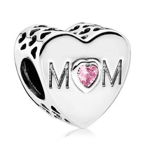 925 Sterling SilverMother Heart Family Charm Bead with Pink Zirconia QJC... - €16,83 EUR