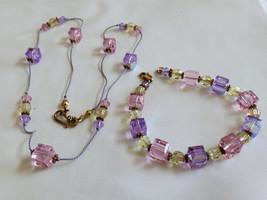 Pink & Lavender Crystal Cube Beads cord Necklace & Bracelet set - $29.70