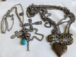 Lot of 2 Fashion Silver Tone Cross Cluster Heart dangle Charm Pendant Necklaces - $34.65