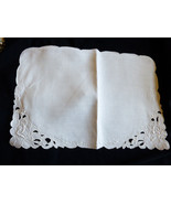 VTG White Linen Madeira Cutwork & Hand Embroidered Dining Napkin set of 5 - $38.61