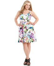 Spense Floral Removable Strap A-Line Plus Size Women's Dress (Size 14W) - $59.99