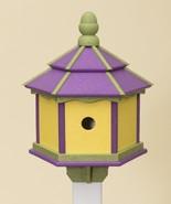 3 ROOM HEXAGON BIRDHOUSE Large Amish Handmade Recycled Poly Purple Lime ... - $137.19
