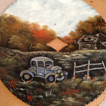 Order 4 Old Car Sawblade, Fall Colors, Vintage Saw, Hand Painted, Home D... - $45.00