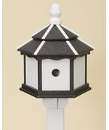 3 ROOM HEXAGON BIRDHOUSE Large Black & White Amish Handmade Recycled Bir... - $137.19