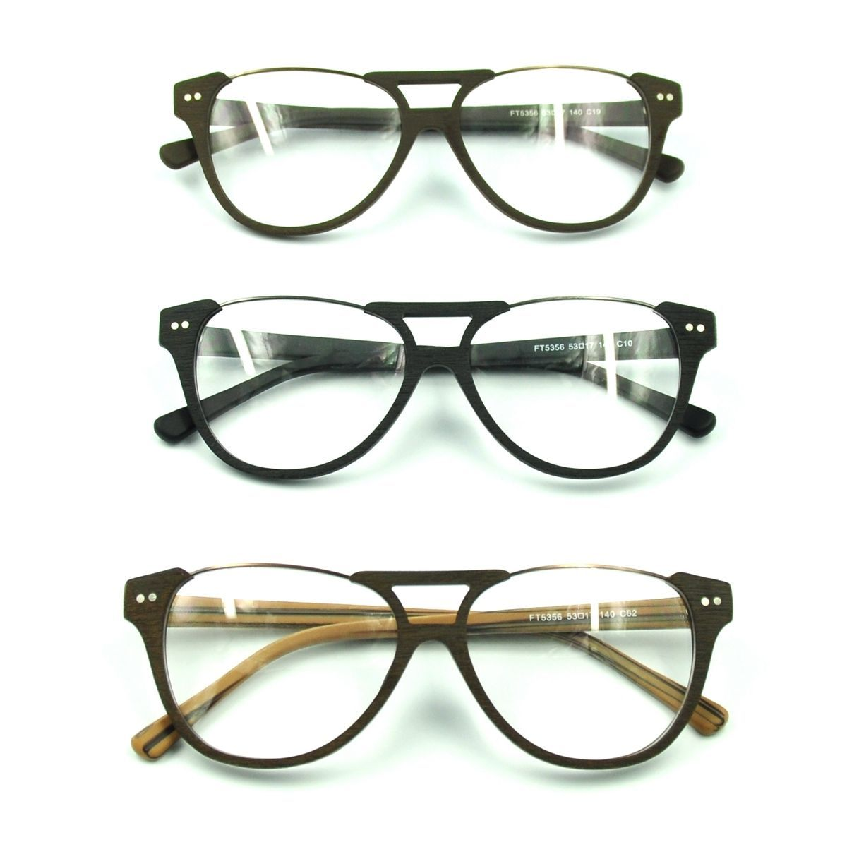 Primary image for Vintage Acetate Topless Eyeglasses Frame Half Rim RX Spectacles Retro Wood Grain