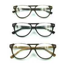 Vintage Acetate Topless Eyeglasses Frame Half Rim RX Spectacles Retro Wood Grain - $34.53