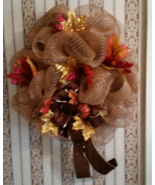 Fall Leaves Deco Mesh Wreath   - $50.00