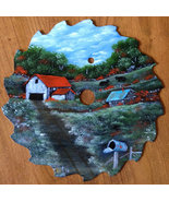 Summer Old Farm Sawblade, Fall Colors, Vintage ... - $43.00