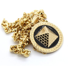"Mens Round Pyramid Pattern Gold Plated Black 24"" Cuban Chain Pendant Nec... - $13.85"