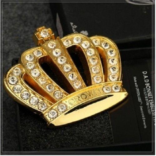 New Luxury Car Vip Emblems Sticker Crown Logo Hood Trunk: Car Metal Crystal Hood Ornament Badge Emblem Luxury VIP JP