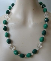 Vintage Green Clear Chunky Lucite Bead Necklace Acrylic Faceted - $19.79