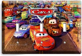 New Cars 3 Lightning Mcqueen Sally Disney Movie Triple Light Switch 1 Wall Plate - $15.29