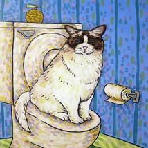 FLUFFY CAT potty picture ceramic gift animal art tile - $14.99
