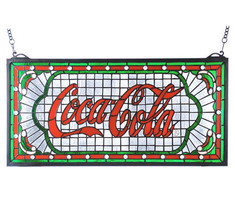 """Coca-Cola Victorian Web Stained Glass Window 25""""w by 12""""h - $539.00"""