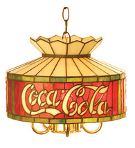 """Coca-Cola Coke 12"""" Stain Glass Hanging Ceiling Light Lamp Stained Glass - $385.00"""