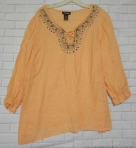 Avenue Peach Linen Size18-20 Beaded Embroidery V Neck  Long Sleeve Peasa... - $12.53