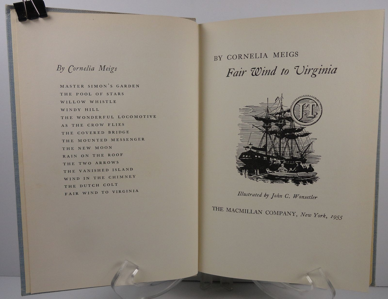 Fair Wind to Virginia by Cornelia Meigs 1955 Macmillan