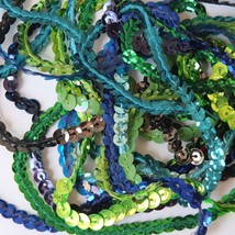 "5mm Cup Sequin Trim Sampler Pack. 10 (12"") pieces. Colors: Green Blue Lime Aqua - $9.97"