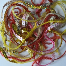 """4mm Sequin Trim Sampler Pack. 10 (12"""") pieces. Colors: Yellow Red Pink Gold - $9.97"""