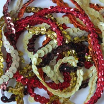 """5mm Cup Sequin Trim Sampler Pack. 10 (12"""") pieces. Colors: Red Orange Yellow - $9.97"""