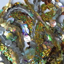 "10mm Sequin Trim Sampler Pack 10 (12"") pieces Colors: Gold Silver Hologram Lazer - $9.97"