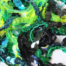"10mm Sequin Trim Sampler Pack. 10 (12"") pieces Colors: Green Blue Lime Teal Aqua - $9.97"