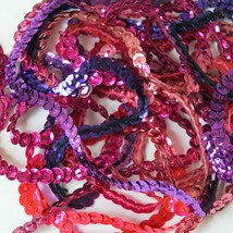 """5mm Cup Sequin Trim Sampler Pack. 10 (12"""") pieces. Colors: Pink Purple Fuchsia - $9.97"""