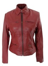 Leather Skin Women Maroon Premium Genuine Leather Jacket - $179.99