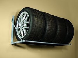 Hyloft Folding Tire Rack Storage Space Saver Garage Wall Loft Wheels Bike SteelH - $68.99