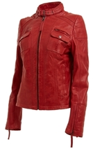 Leather Skin Women Red High Quality Premium Leather Jacket - $179.99