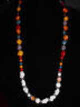 VTG Un-named Artist Made White Milk Glass Art & Faux Stone Beaded Necklace (B) - $19.80
