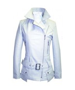 Leather Skin Women White Belted High Quality Premium Leather Jacket - $179.99