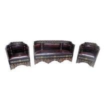 Moroccan Rustic Living Room Seating Leather Metal & Bone Set - €3.910,98 EUR