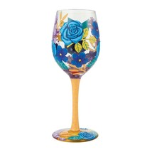 """Blue Florals """"Designs by Lolita"""" Wine Glass 15 o.z. 9"""" High  Gift Boxed"""