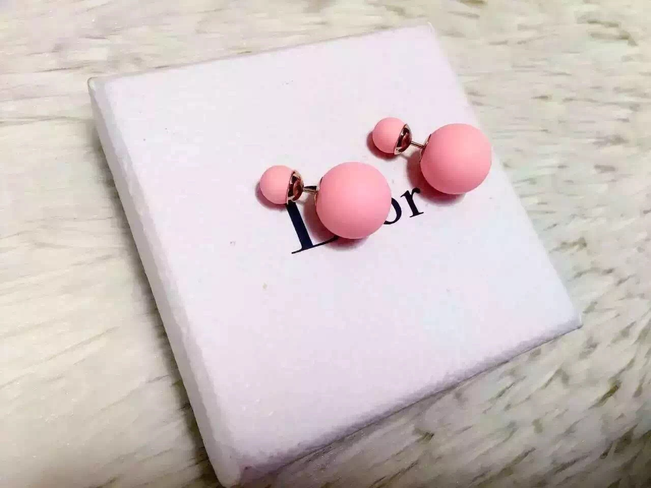 Auth Christian Dior Mise En Dior Tribal Double Pearl Earings Matte Baby Pink