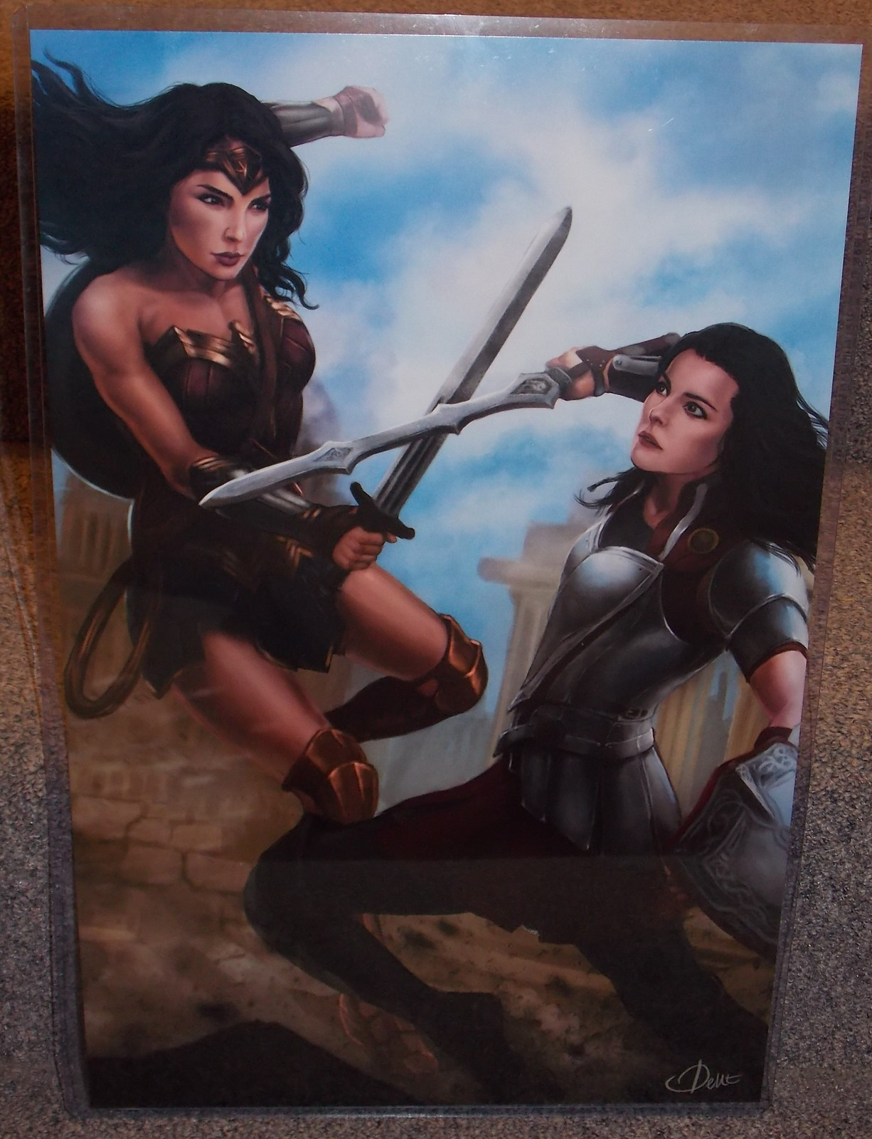 Primary image for Wonder Woman vs Lady Sif Glossy Print 11 x 17 In Hard Plastic Sleeve