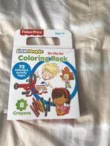 New Fisher-Price Little People Coloring Book & 8 Crayons On The Go Trave... - $10.70