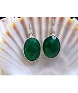 Green Onyx and Sterling Silver Dangle Earrings 5.2grams  - $15.00