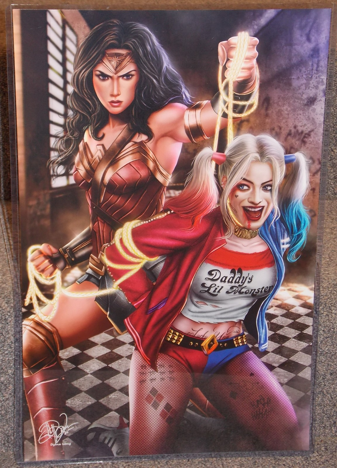 Primary image for Wonder Woman vs Harley Quinn Glossy Print 11 x 17 In Hard Plastic Sleeve