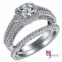 1.21ct Round Cut Halo set Diamond Engagement Wedding Ring Set 14k White Gold - $2,919.51