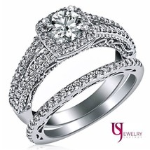1.45ct Round Diamond Halo Filigree Engagement Wedding Matching Band Set 14k Gold - $3,503.61
