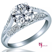 Promise Engagement Ring Round Cut Diamond 14k White Gold 1.68 Carat (1.21)F-SI2 - $3,159.29