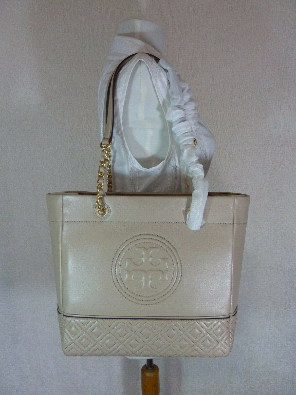 Primary image for NWT Tory Burch Light Taupe Leather Fleming Medium Tote $558