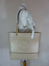 NWT Tory Burch Light Taupe Leather Fleming Medium Tote $558 - $552.42
