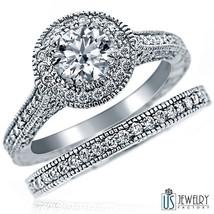1.59ct Round Diamond Engagement Love Wedding Matching Bands Set 14k White Gold - $3,602.61